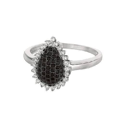 Silver Rhodium Finish Shiny Teardrop Shape Top Size 7 Ring Anniversary/Fashion