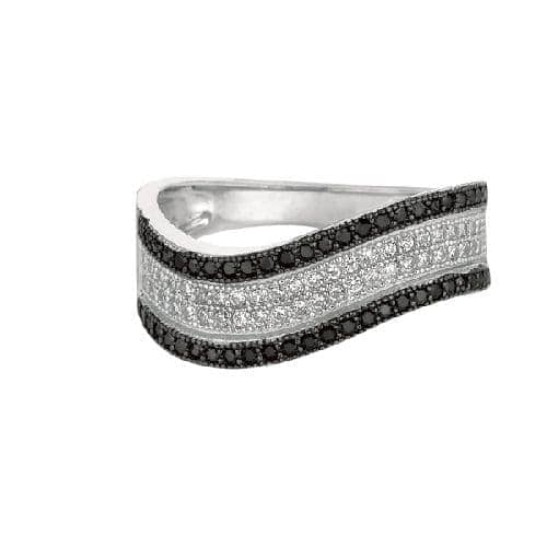 Silver Rhodium Finish Shiny Graduated Twisted Band Type Size 8 Ring Anniversary/Fashion