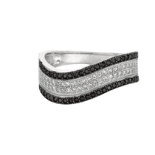 Silver Rhodium Finish Shiny Graduated Twisted Band Type Size 8 Ring Anniversary/Fashion
