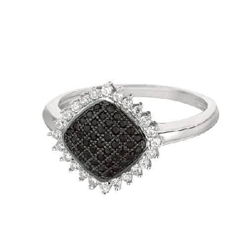 Silver Rhodium Finish Shiny Diamond Shape Top Size 6 Ring Anniversary/Fashion