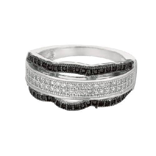 Silver Rhodium Finish Shiny Fancy Wavey Band Type Size 9 Ring Anniversary/Fashion