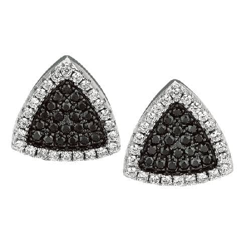Silver Rhodium Finish Shiny Fancy 3-Point Triangle Shape Post Earring Metal