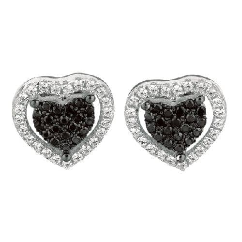 Silver Rhodium Finish Shiny Fancy Small Heart Post Earring Metal