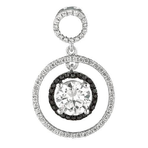Silver Rhodium Finish Shiny Fancy 2-Circle Fancy Pendant Metal