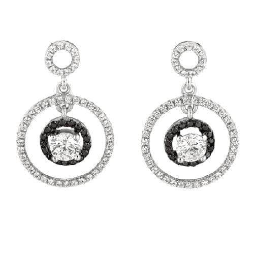 Silver Rhodium Finish Shiny Fancy 2-Circle Fancy Drop Earring Metal