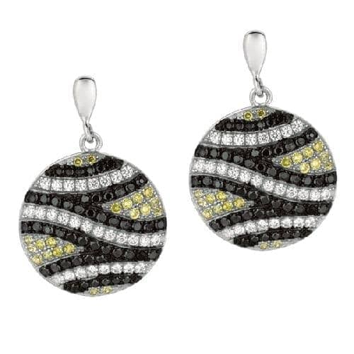 Silver Fancy Round Drop Earring with Tri-Color Cubic Zirconia Metal