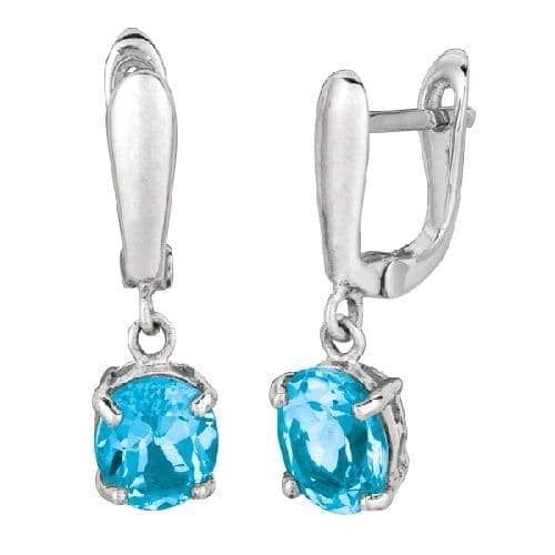 Silver Blue Topaz Semi-Precious Dangle Post Earring Metal