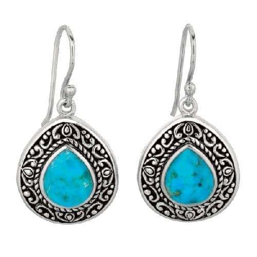 Silver Oxidized Tear Drop Fancy Reconstituted Turquoise Earring Metal