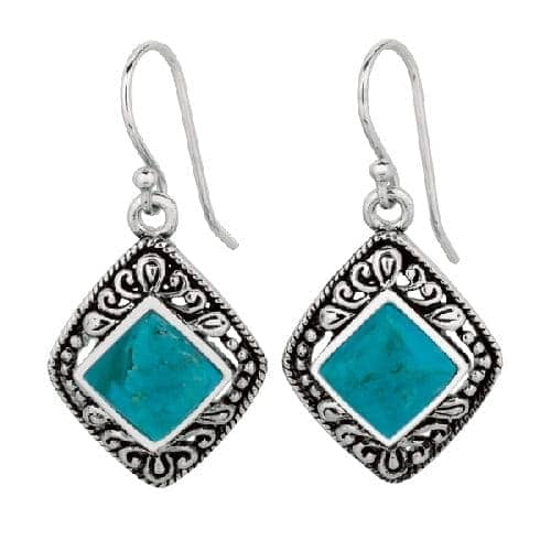 Silver Oxidized Diamond Shape Fancy Drop Reconstituted Turquoise Earring Metal