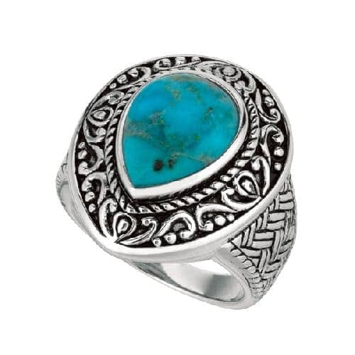 Silver Oxidized Tear Drop Reconstituted Turquoise Size 8 Ring Anniversary/Fashion