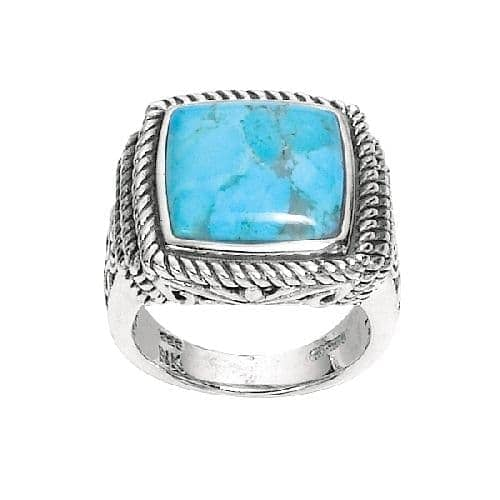 Silver Dome Square Top Reconstituted Turquoise Ridge Size 8 Ring Anniversary/Fashion
