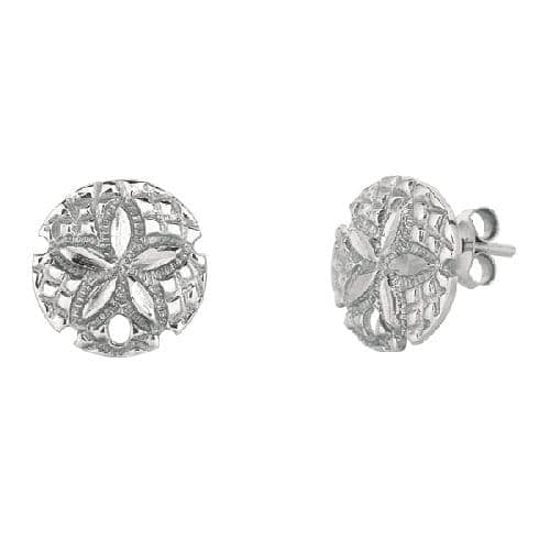 Silver Open Sand Dollar Sea Life Post Earring Metal