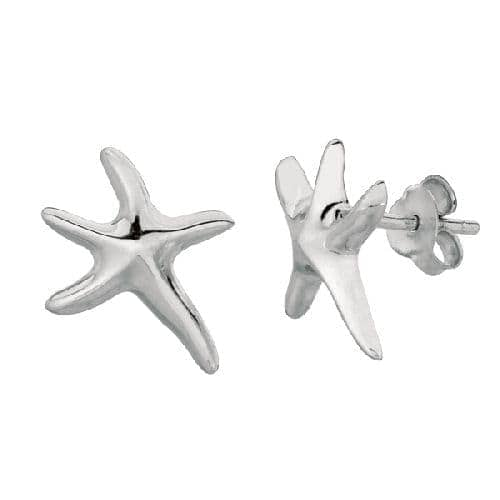 Silver Rhodium Finish Shiny Small Starfish Sea Life Post Earring Metal