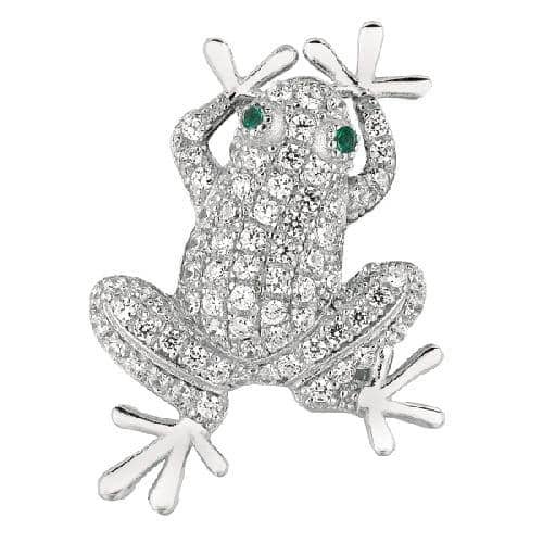 Silver Rhodium Finish Shiny Frog Sea Life Pendant Metal