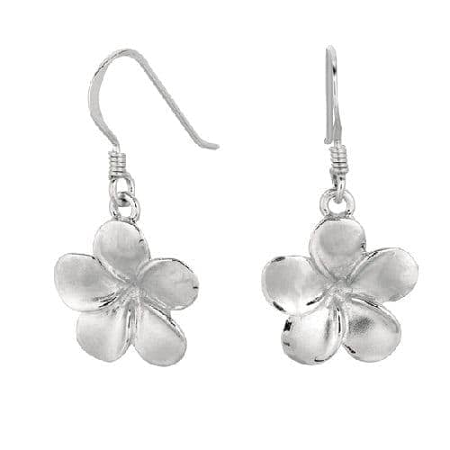 Silver Dangle Sand Blast Champac Flower Drop Earring Metal