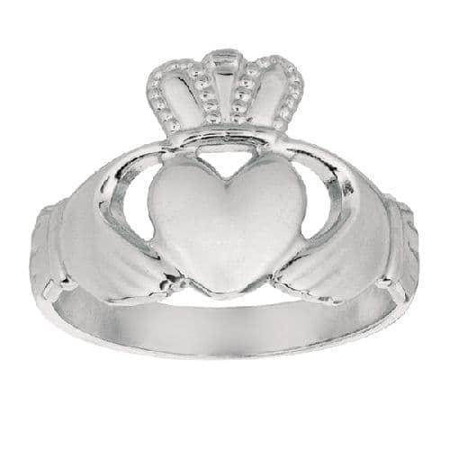 Silver Rhodium Finish Shiny Claddagh Size 9 Ring Anniversary/Fashion