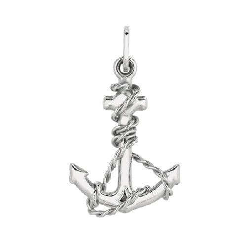 Silver with Rhodium Finish Shiny Anchor Pendant Metal