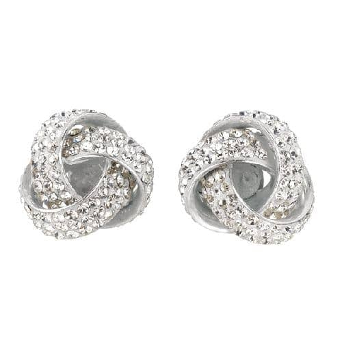 Silver Rhodium Finish Shiny Love Knot  Post Earring with White Crystal Metal