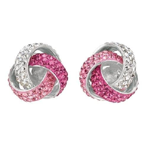 Silver Rhodium Finish Shiny Love Knot  Post Earring with Pink Crystal Metal