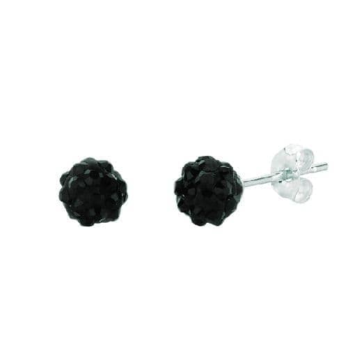 Silver with Rhodium Finish Shiny Ball Post Earring with Black Crystal Metal