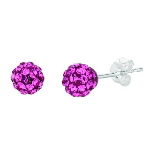 Silver with Rhodium Finish Shiny Ball Post Earring with Pink Crystal Metal