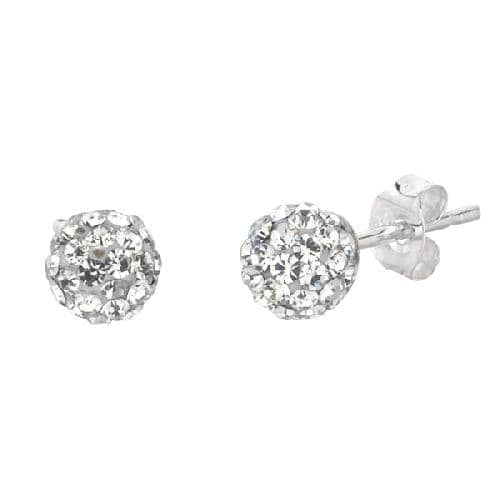 Silver Shiny Ball Post Earring with White Crystal Metal