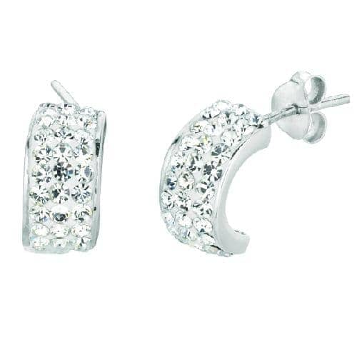 Silver Shiny C Type Post Earring with Crystal Crystal Metal