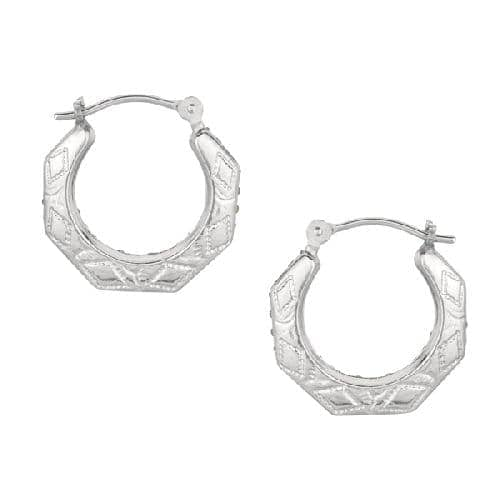 Silver Diamond Cut Oval Type Reverseable Hoop Earring Metal
