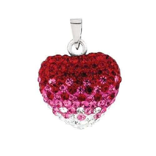 Silver with Rhodium Finish Shiny Red Heart Pendant Metal