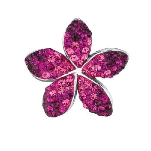 Silver 5-Leaf Flower Pendant with Ruby Crystal Metal