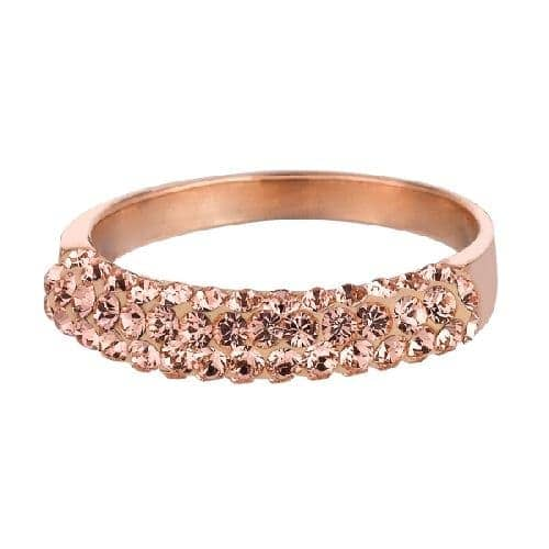 Rose Finish Shiny Band Type Size 6 Ring with Coffee Crystal Anniversary/Fashion