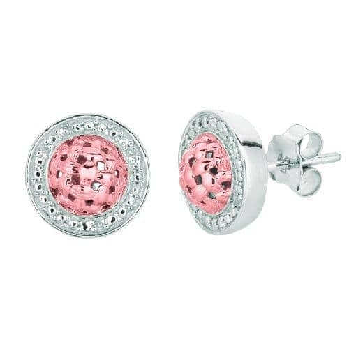 Silver Shiny Pink Puff Children Drop Earring Metal