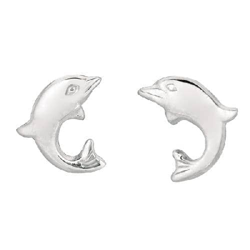 Silver Small Dolphin Children Post Earring Metal