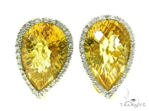 Pear cut Citrine & Prong Diamond Earrings 39268 Stone