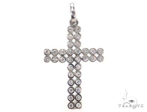 14k White Gold Bezel Diamond Cross 39433 Diamond