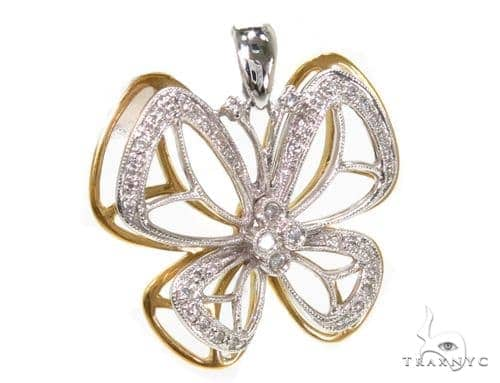 Prong Diamond Butterfly Pendant 39442 Stone