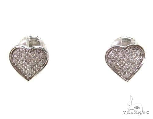 Prong Diamond Heart Earrings 39486 Stone