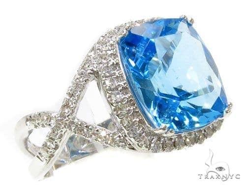 Prong Diamond Blue Topaz Ring 39515 Anniversary/Fashion