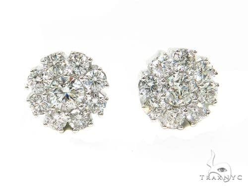 Prong Flower Diamond Earrings 39609 Stone