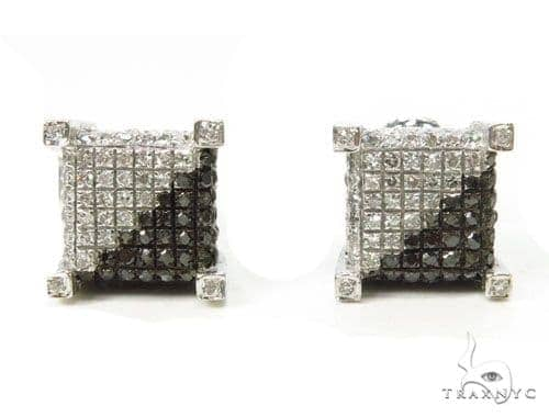 Prong Diamond Silver Earrings 39715 Metal