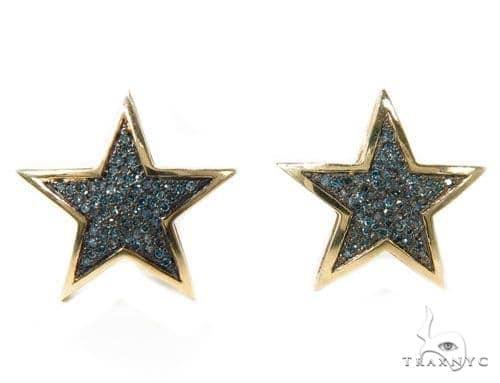 Prong  Blue Diamond Star Earrings 39932 Stone