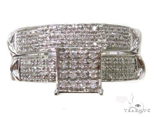 10k White Gold Prong Diamond Wedding Set-39968 Engagement