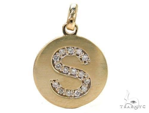 14k Yellow Gold Prong Diamond Initial S Pendant-39984 Style