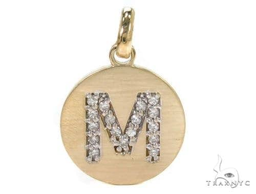 14k Yellow Gold Prong Diamond Initial M Pendant-39986 Style