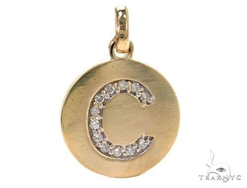 14k Yellow Gold Prong Diamond Initial C Pendant-39987 Style
