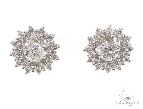 14k White Gold Prong Diamond Earrings For Women-39992 Stone