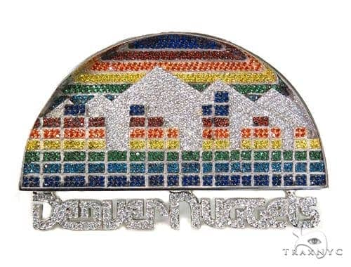 Custom Silver Denver Nuggets Pendant-40014 Metal