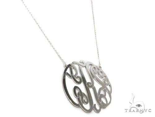 Sterling Silver Monogram Necklace-40019 Silver