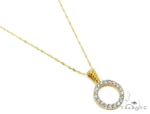 18k Yellow Gold Prong Diamond Necklace-40032 Diamond