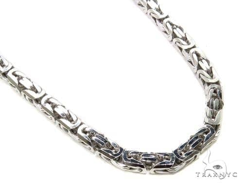 Byzantine Silver Chain 36 Inches 7mm 92.3 Grams-40070 Silver